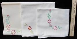 Kitchen Towels Hand Embroidered Flour Sack Red Rose Floral Design Lot of 3  - $9.85