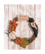 Harvest Gatherings Wreath Thanksgiving Fall Door Home Decor  - $52.00