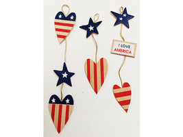 Jolee's by You Wooden Patriotic Heart Banner Set #JJDBO178