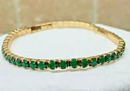 Single Line Stretch Bracelet Flexible Elastic GREEN Gemstone Fashion Jew... - $7.50