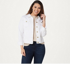 Isaac Mizrahi Live! TRUE DENIM Jean Jacket, Bright White, Size 14 - $49.49