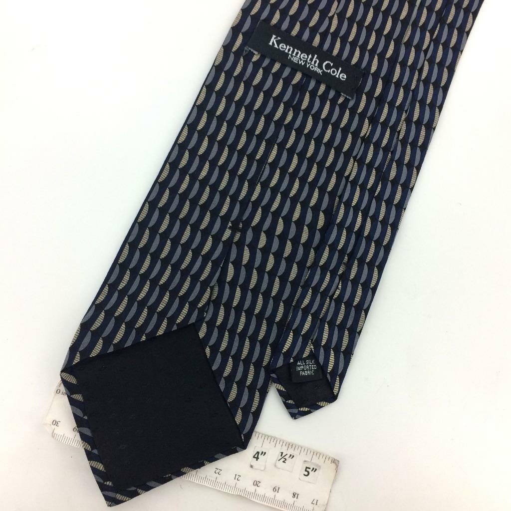 KENNETH COLE USA TIE GEOMETRIC Waves NAVY BLUE Silk Necktie Gray Ties I14-419 image 3