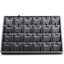 Oirlv Black Leather 24 Grids Inserts Jewelry Tray Pendant Earrings Showc... - $41.21