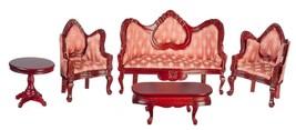 Dollhouse Miniature Victorian Living Room, 5 pc, Red w/Mahogany Finish #... - $62.95