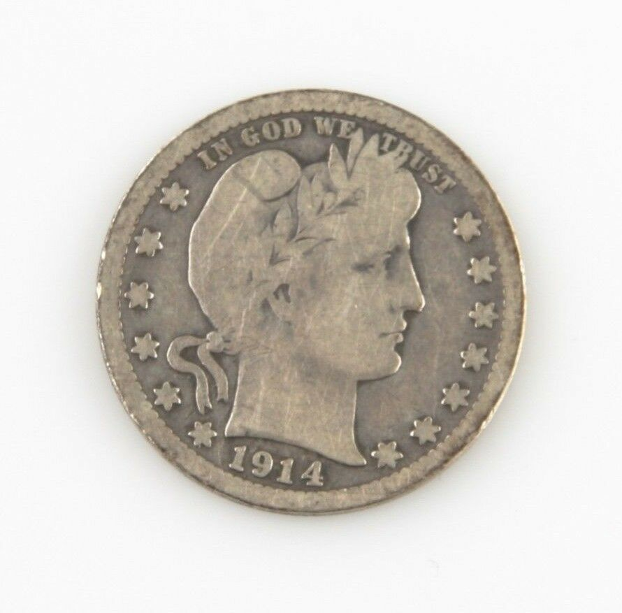 1914-S 25¢ Barber Quarter G+ Condition, Natural Color, Full Complete Rims VG Obv image 1
