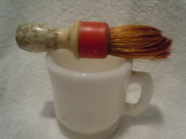 Vintage Milk Glass Shaving Mug & Brush with Bak... - $12.99