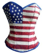 Blue Satin USA Flag Red White Sequins Burlesque Bustier Overbust Corset ... - $79.19+