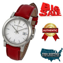 NEW Authentic Burberry Check Stamped Red Leather Ladies Watch BU9129 ON ... - $246.51