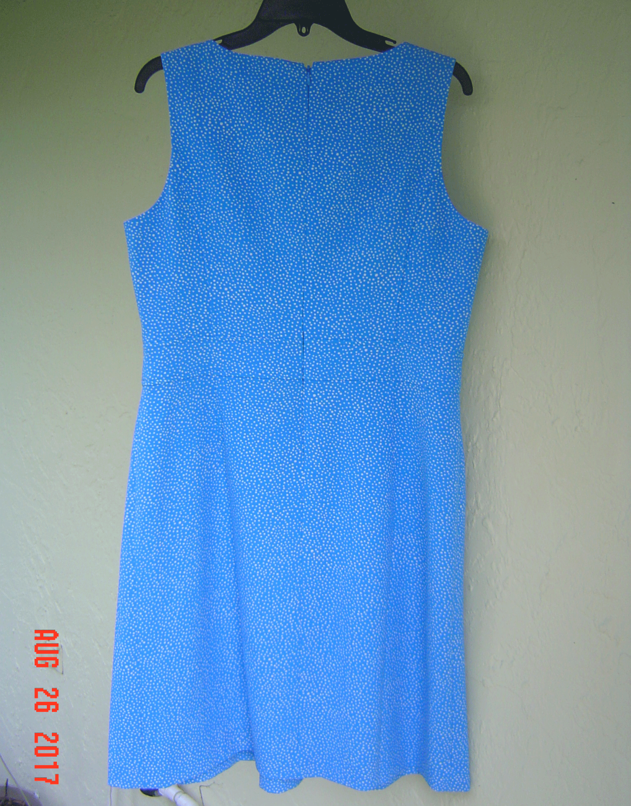 ANNE KLEIN BLUE WHITE DOTS CAREER PLEATED DRESS SIZE 12 $99 image 3