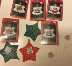 Counted Cross Stitch Ornament Kit Holiday Time Angel Lot of 5 new and se... - $14.55