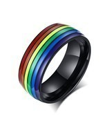 Modyle Unisex Rainbow Lines Ring Classic Stainless Steel Pride LGBT Wedd... - £6.85 GBP