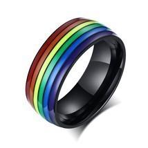 Modyle Unisex Rainbow Lines Ring Classic Stainless Steel Pride LGBT Wedd... - £6.99 GBP