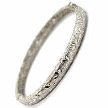 SOLID 18K WHITE GOLD BRACELET, RIGID, BANGLE, FINELY NEST WORKED WITH FLOWERS image 1