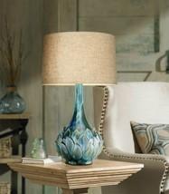 Elegant Ceramic Table Lamp Kenya Blue Green Home Office Stylish Unique D... - $162.95