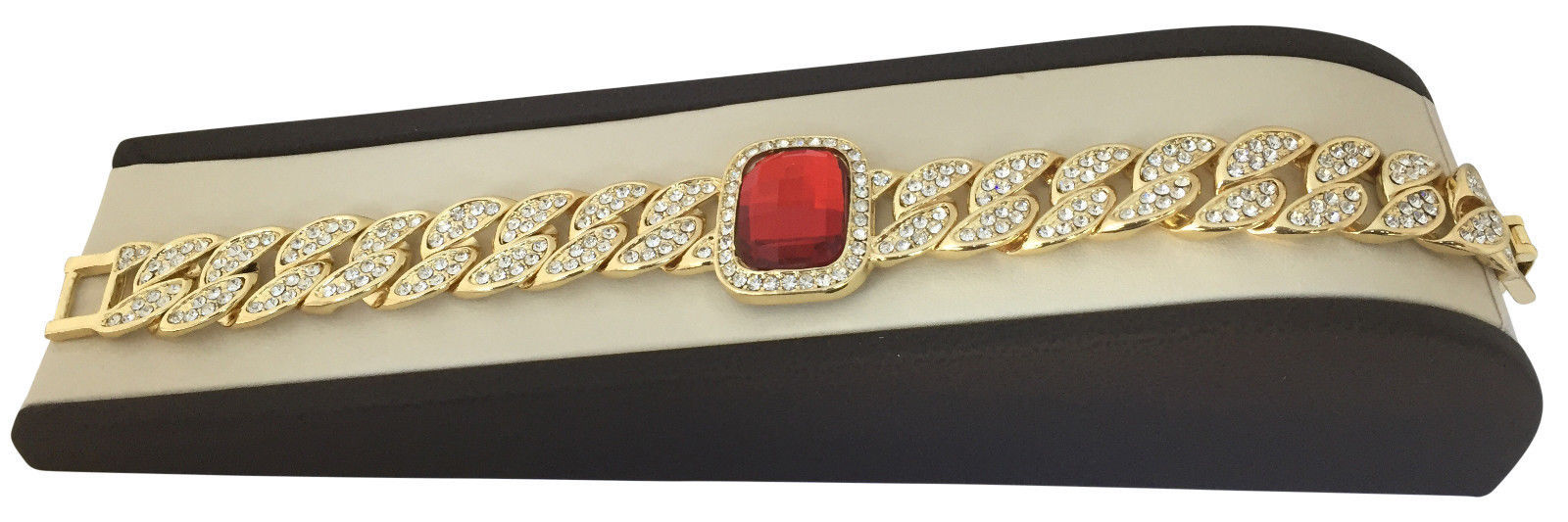 Mens Large 14K Gold GP Cuban Link Iced CZ Red Ruby 16mm Jewelry Bracelet 8.5""