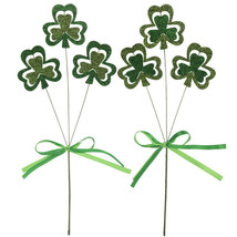 "Green Glitter Shamrock Picks approx 12"" 2 picks per package - $4.00"