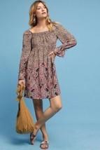 New Anthropologie Milou Paisley Boho Babydoll Mini Dress $138 SMALL Brown  - £39.88 GBP