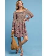 New Anthropologie Milou Paisley Boho Babydoll Mini Dress $138 SMALL Brown  - $55.44