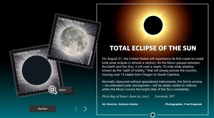 Stamps Solar eclipse -  usps 2017 issue first of its kind!