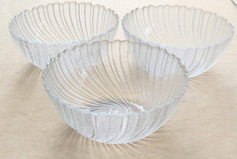Arcoroc (3) Large Clear Glass Serving Bowls In The Seabreeze Design - Made In Fr - $27.99