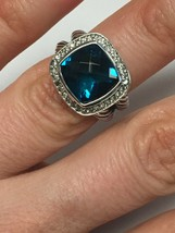 Pre Owned David Yurman 11mmx11mm Albion Hampton Topaz and Diamond Ring S... - $550.00