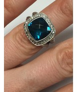 Pre Owned David Yurman 11mmx11mm Albion Hampton Topaz and Diamond Ring S... - $550.00