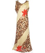 L Animal Print Boho Summer Gypsy Dress Floral Sheath Sleeveless Maxi Tunic - $23.75