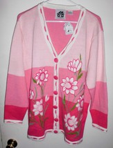 STORYBOOK KNITS Cardigan LARGE Sweater Embellished Floral White Pink Wom... - $89.09