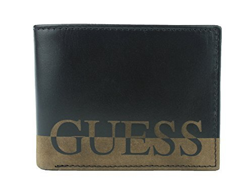 New Guess Men's Ansel Black Leather Passcase Double Billfold Wallet