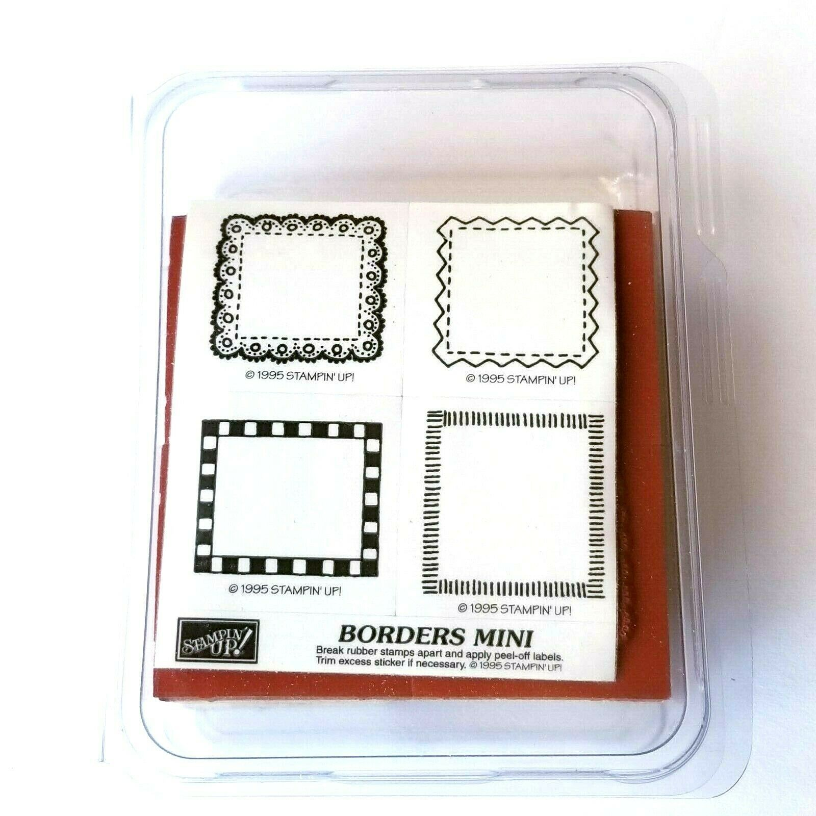 Stampin Up Stamps Set Borders Mini Set Of 4 Rubber Stamps 1995 - $11.69