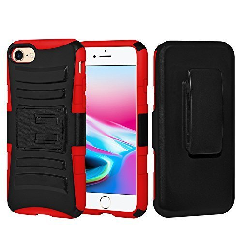 Rugged Hybrid Armor Hard Defender Case with Holster - Black/ Red for iPhone 8