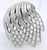 Vintage Silver Tone Signed MONET Brooch Pin Openwork Abstract - $19.80