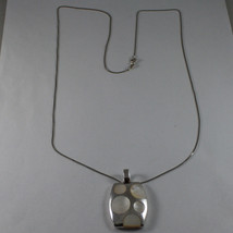 .925 SILVER RHODIUM NECKLACE WITH RECTANGULAR PENDANT WITH MOTHER OF PEARL DISC image 2
