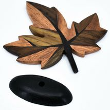 Northwoods Handmade Wooden Parquetry Canadian Maple Leaf Sculpture Figurine image 7