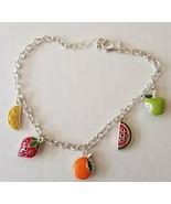 Avon Fruit Charm Anklet Apple Strawberry Orange Watermelon Lemon (New In... - $11.87