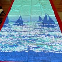 "Sailboat Curtains NOS 6 Panels 63"" Tiebacks Blue Green Springs Brand New... - $74.95"