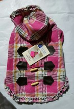 East Side Collection Pink Plaid Toggle Coat Dog Size S NWT - $17.81