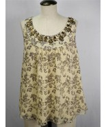 COLDWATER CREEK Line Floral Beaded Sleeveless U-Neck Shirt Top Blouse Si... - $11.29
