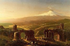 Mount Etna From Taormina Volcano Ruins Italian Painting By Thomas Cole Repro - $10.96+