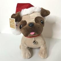 "Hallmark Puppy Dog Plush Christmas Santa Hat Ribbon Collar Bell 11"" Tall New - $28.59"