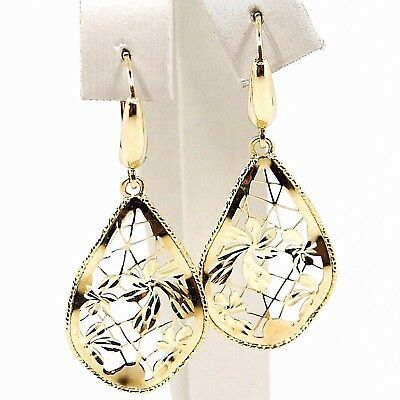 Yellow Gold Drop Earrings 750 18k, Drops Corrugated, Flowers worked