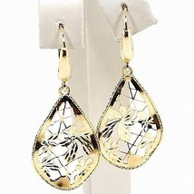 Yellow Gold Drop Earrings 750 18k, Drops Corrugated, Flowers worked image 1