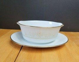 Noritake Dearest China Gravy Boat with Underplate White & Brown Floral Trim   - $11.88