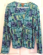 Choices Long Sleeve Top Pleated V Neck Button Front Geometric Green Blue XL - $9.85