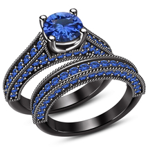 Bridal Wedding Ring Set 14k Black Gold Plated 925 Silver Round Cut Blue Sapphire - $102.99