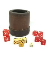 Vintage Leather Dice Cup  With Assorted Vintage Dice CASINO ETC - $75.00