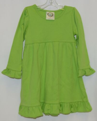 Blanks Boutique Lime Green Long Sleeve Empire Waist Ruffle Dress Size 2T