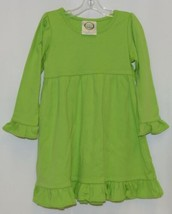 Blanks Boutique Lime Green Long Sleeve Empire Waist Ruffle Dress Size 2T image 1