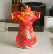 Cheongsam Wine Bottle Cover- Peony Oriental Dress Made with Silk Brocade... - £7.20 GBP