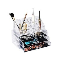Urbane Wares 4 Drawer Jewelry Box and Acrylic Cosmetic Organizer - $16.82